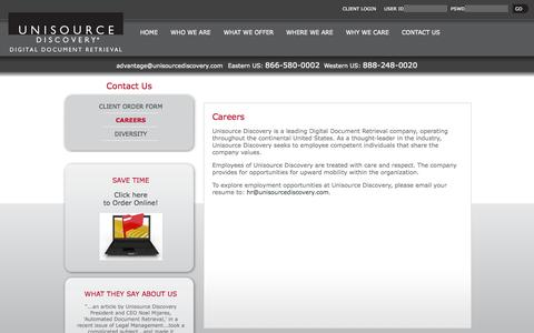 Screenshot of Jobs Page unisourcediscovery.com - Careers | Unisource Discovery - captured Sept. 30, 2014