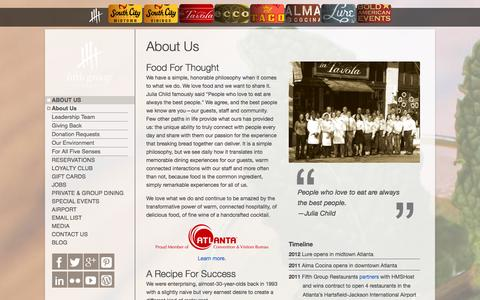 Screenshot of About Page fifthgroup.com - About Us | Fifth Group Restaurants | Atlanta GA - captured Oct. 5, 2014