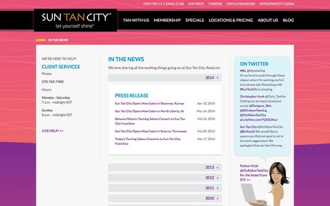 Screenshot of Press Page suntancity.com - Sun Tan City in News Articles and Press Releases - captured Oct. 14, 2015