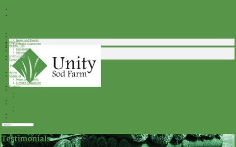 Screenshot of Testimonials Page unitysodfarm.com - Testimonials Kingston | Unity Sod Farm - captured Oct. 20, 2018
