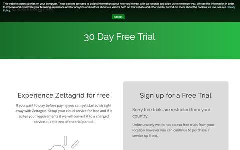 Screenshot of Trial Page zettagrid.com - Cloud Computing Free Trial - captured Oct. 20, 2018