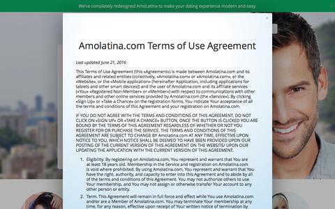 Screenshot of Terms Page amolatina.com - Amolatina.com – Best of Latin & Latina Dating Sites to find Mexican & Colombian women. - captured Jan. 11, 2017