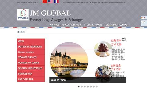 Screenshot of Menu Page jmglobal.fr - Nous vous proposons des formations professionnelles de tous niveaux, des cours de chinois, d'anglais, de français, d'instruments de musique à Paris - captured Nov. 1, 2014