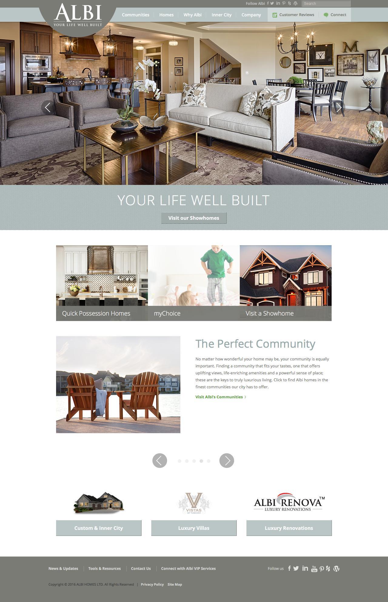 Screenshot of albihomes.com - Custom Home Builders Calgary | Albi Homes - captured Feb. 5, 2016