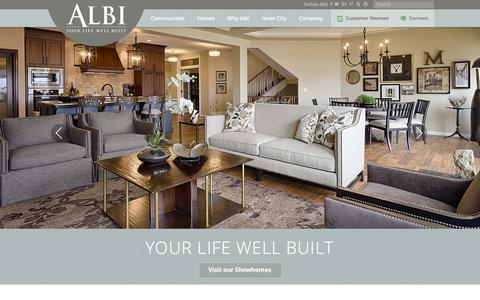 Screenshot of Home Page albihomes.com - Custom Home Builders Calgary | Albi Homes - captured Feb. 5, 2016