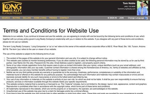 Screenshot of Terms Page longrealty.com - Terms of Use - captured Dec. 8, 2018
