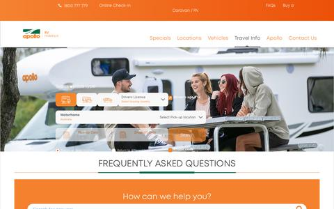 Screenshot of FAQ Page apollocamper.com - Frequently Asked Questions - Apollo RV Holidays Australia - captured Feb. 23, 2020