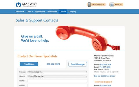 Screenshot of Contact Page Terms Page marway.com - Marway Contacts - captured Oct. 17, 2018