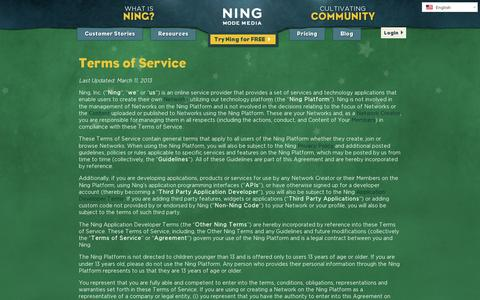 Screenshot of Terms Page ning.com - Terms of Service   Ning.com - captured July 20, 2014