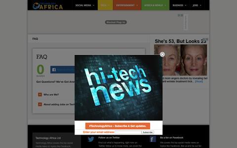 Screenshot of FAQ Page technology-africa.com - FAQ - Technology News - Technology Blog - Tech AfricaTechnology Africa News - captured Nov. 3, 2014