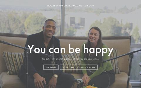 Screenshot of Home Page socalnpg.com - Southern California Neuropsychology Group - captured March 11, 2016
