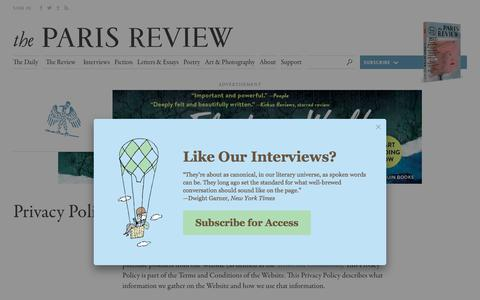 Screenshot of Privacy Page theparisreview.org - Paris Review - Writers, Quotes, Biography, Interviews, Artists - captured Oct. 30, 2017