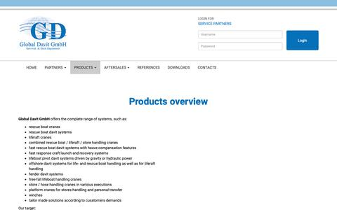 Screenshot of Products Page global-davit.de - Global Davit GmbH: Products overview - captured Oct. 24, 2018