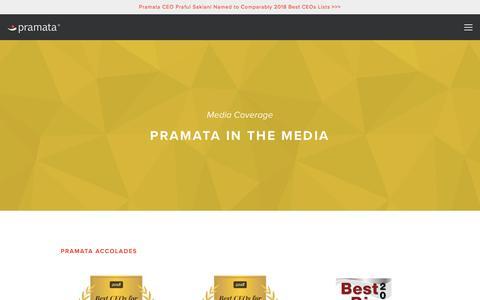 Screenshot of Press Page pramata.com - Media Coverage — Pramata - captured June 20, 2018