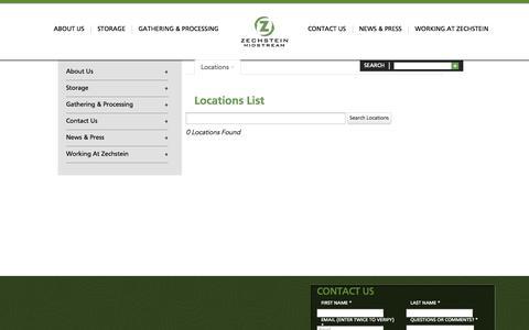 Screenshot of Locations Page zech-hub.com - Locations -  List Zechstein Energy Storage - captured Oct. 7, 2014