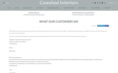Screenshot of Testimonials Page cowshedinteriors.com - What our customers say – Cowshed Interiors - captured July 17, 2016