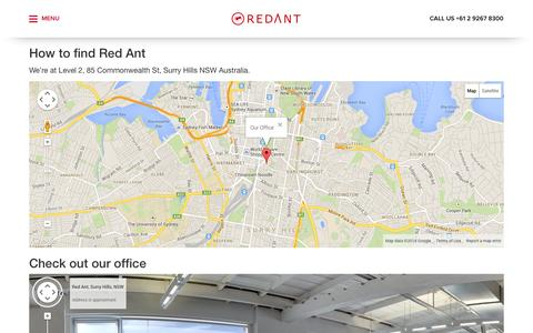 Screenshot of Maps & Directions Page redant.com.au - Red Ant - About Red Ant in Surry Hills Sydney Australia - Red Ant - captured Sept. 23, 2014