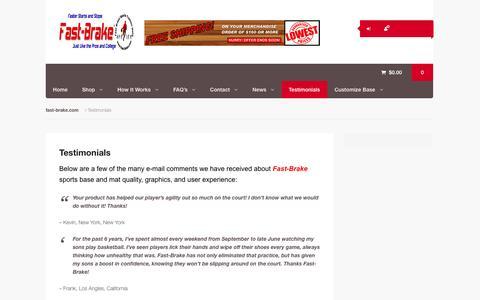 Screenshot of Testimonials Page fast-brake.com - Fast-Brake Adhesive Sport Mats - Testimonials - captured Oct. 5, 2014