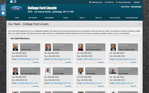 Screenshot of Team Page collegefordlincoln.com - Our Team at College Ford Lincoln - Your Lethbridge, Alberta Ford dealer - captured Sept. 30, 2014