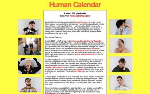 Screenshot of About Page humancalendar.com - the human calendar®: about - captured April 10, 2017