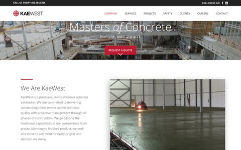 Screenshot of Home Page kaewest.com - KaeWest - Concrete Contractor - captured Oct. 14, 2018