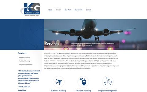 Screenshot of Services Page kutchins-groh.com - Services | Kutchins and Groh | Airport Consulting - captured Feb. 12, 2016