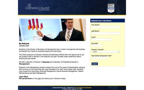 Screenshot of Landing Page cazenovia.edu - Cazenovia College Business Management -- Be Strategic. - captured March 2, 2016