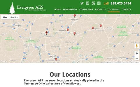 Screenshot of Locations Page evergreenaes.com - Full Service Environmental Firm | Evergreen AES - captured Sept. 29, 2018