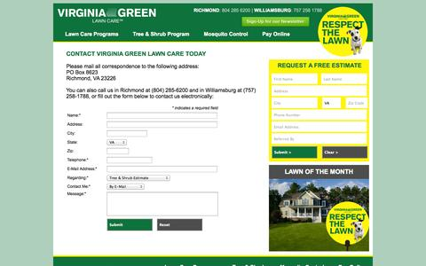 Screenshot of Support Page virginiagreenlawncare.com - Contact Us - Virginia Green Lawn Care :: Richmond VA :: Williamsburg VA - captured Sept. 26, 2014