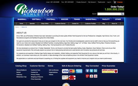 Screenshot of About Page richardsonathletics.com - About  Us - captured Oct. 9, 2014
