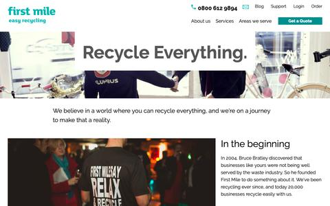 Screenshot of About Page thefirstmile.co.uk - Find out more about us | Easy Recycling | First Mile - captured Dec. 14, 2018