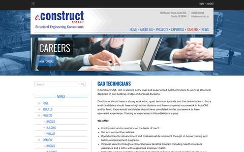 Screenshot of Jobs Page econstruct.us - Careers - eConstruct, USA.LLC - Omaha, NE - captured Nov. 13, 2016