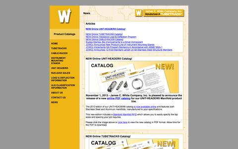 Screenshot of Press Page jcwco.com - Product News | TUBETRACK®, CABLE-RACE®, IM Stands, and UNIT HEADER® - captured Feb. 11, 2016
