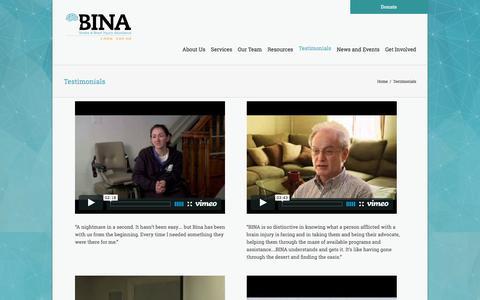 Screenshot of Testimonials Page binausa.org - Bina Stroke & Brain Injury Assistance   –  Testimonials - captured Nov. 21, 2016