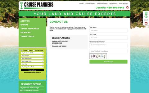 Screenshot of Contact Page arizonacruiseplanners.com - Cruise Planners - Contact Us - captured Sept. 30, 2018