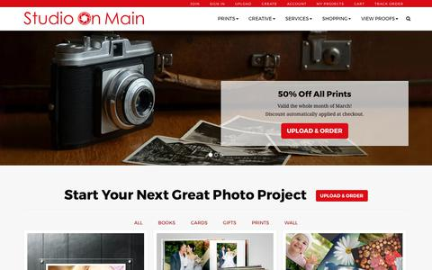 Screenshot of Home Page studioonmain.com - Studio on Main: quality photo prints, books, and canvas. - captured Oct. 7, 2017