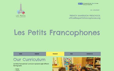 Screenshot of About Page lespetitsfrancophones.com - Les Petits Francophones, a French Immersion Preschool In Oakland, CA | PROGRAM - captured May 17, 2017