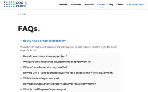 Screenshot of FAQ Page coxandplant.com - FAQs - Cox & Plant - captured Sept. 7, 2017