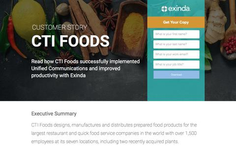 Screenshot of Landing Page exinda.com - CTI Foods Succesfully Implements Unified Communications | Exinda - captured June 21, 2017
