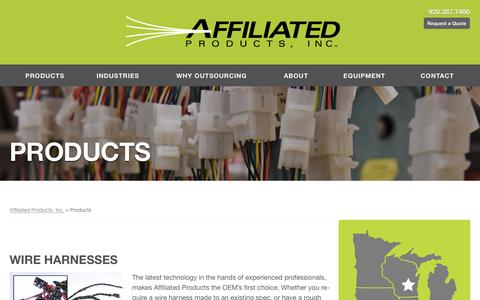 Screenshot of Products Page affprod.com - Affiliated Products, Inc.  Products - captured Nov. 20, 2016