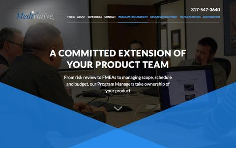 Screenshot of Services Page medivative.com - Program Management | Full-Service Contract Manufacturing | Medivative - captured Feb. 12, 2016