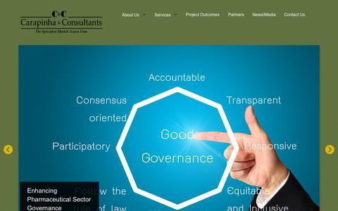 Screenshot of Home Page carapinha.com - Carapinha & Consultants - captured Sept. 17, 2015