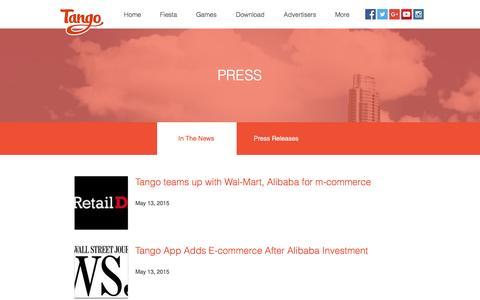 Screenshot of Press Page tango.me - Tango | Press - captured Dec. 6, 2016
