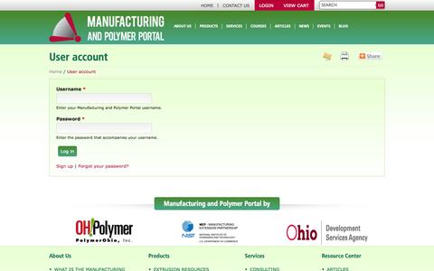 Screenshot of Login Page manufacturingportal.org - User account | Manufacturing and Polymer Portal - captured Oct. 4, 2014