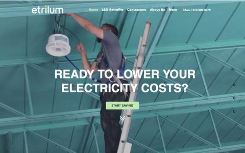 Screenshot of Home Page etrilum.com - Etrilum Light Inc. - Eastern Ontario's LED lighting solution provider - captured Nov. 11, 2016