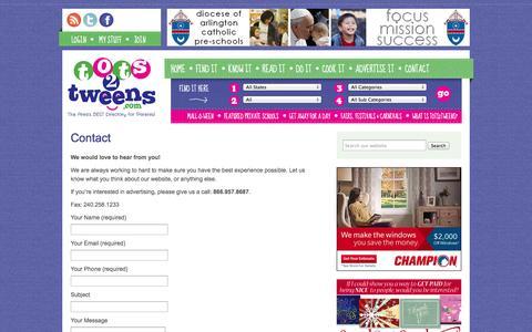 Screenshot of Contact Page tots2tweens.com - Contact - Tots2Tweens.com - captured Oct. 7, 2014
