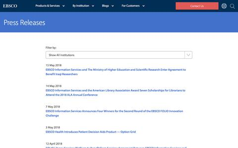 Screenshot of Press Page ebsco.com - Press Releases   EBSCO - captured May 16, 2018