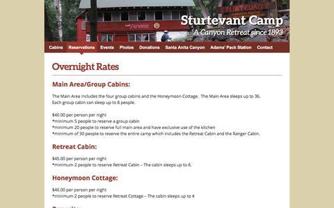 Screenshot of Pricing Page sturtevantcamp.com - Sturtevant Camp     Overnight Rates - captured June 1, 2016