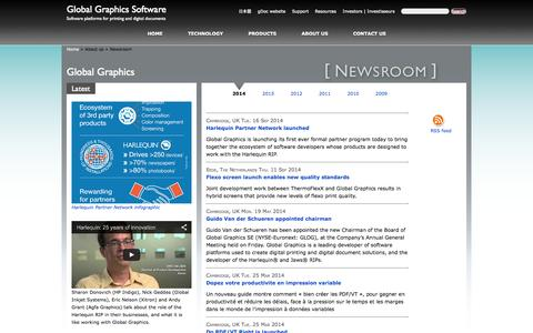 Screenshot of Press Page globalgraphics.com - Latest news from Global Graphics Software - captured Sept. 24, 2014