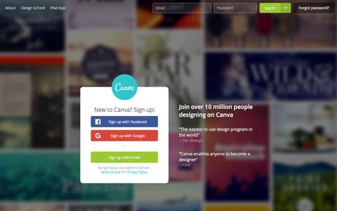 Screenshot of Signup Page canva.com - Amazingly Simple Graphic Design Software – Canva - captured May 16, 2016